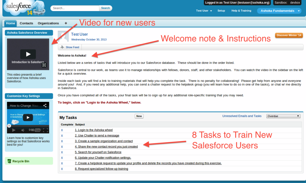 HomePage for 8 Tasks for Salesforce New Users